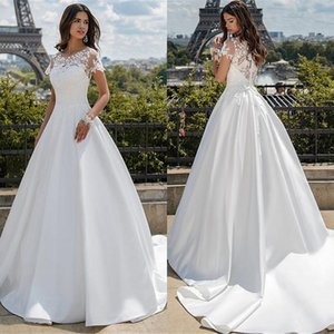 White O-neck Short Sleeves Satin With Applique Lace A-line Wedding Dress 2021 Design For Bride Vestido de Noiva Q1113