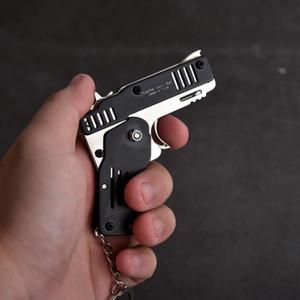 Mini Folding pode segurar o chaveiro Todos Metal Gun Forma Tiro presentes Toy Pistol Toy Key Anel Elástico Crianças Gun Meninos