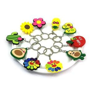 MOQ=500PCS Metal cute plants flowers Key Chains Cute Cartoon Soft Key Ring PVC Figure Keychain Car Key Holder Ornament Decoration-Free DHL