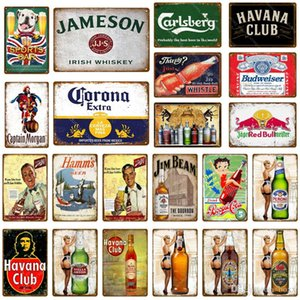 Sports Bar Decor Whiskey Beer Metal Tin Signs Pub Bar Cafe Club Decoration Wall Stickers Art Painting Iron Poster Decor Art 2019 News