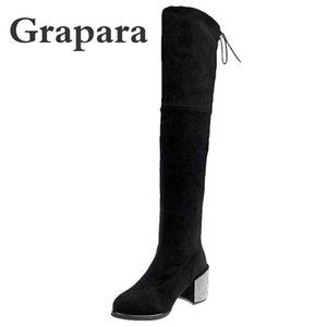 Autumn Winter Thigh High Boots Woman Crystal Square High Heels Women Boots Over The Knee Botas Mujer Ladies Shoes Female Grapara