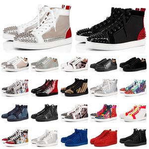 Christian Louboutin Marka Tasarımcısı Lüks Erkek Kırmızı Dipleri Ayakkabı Çivili Spike Womens Spike Ayakkabı Parti Severler Moda Hakiki Deri Platformu Sneakers