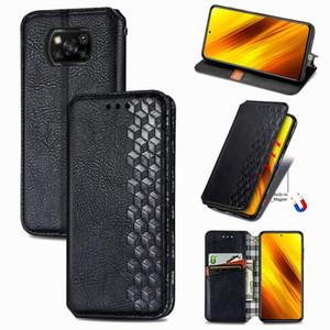 Pour Xiaomi Poco X3 NFC Grille cubique Pressée Horizontal Flip Coating Cuir PU avec portefeuille de porte-cartes Portefeuille