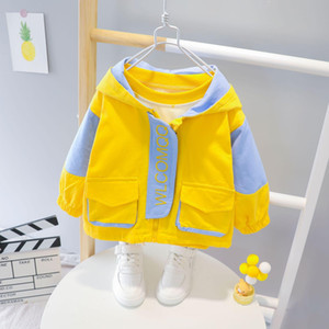 Childrens Coat All-match Autumn Boy Color Matching Hooded Long-Sleeved Zipper Shirt Windbreaker Childrens Short Jacket Wholesale