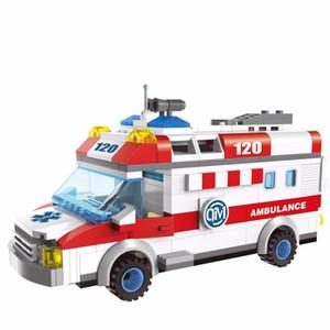 계몽시 교육 구급차 트럭 빌딩 블록 장난감 어린이 어린이 선물 자동차 구급차 계몽 도시 yxlrKe의 ly_bags의 경우