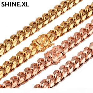 8mm Hip Hop Men Titanium Steel Stainless Steel Rose Gold Encrypt Cuban Chain Faucet Necklace Wholesale