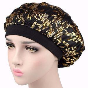 New Fshion Women hsequins Sleep Cap Soft Night Sleep Hats Hair Bonnet Hat Silk Comfortable Head Cover Wide Elastic Band Hair Loss Cap