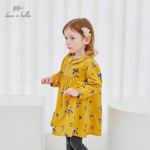 DBM15353-1 Dave Bella Invierno Bebé Lindo Arco Floral Vestido Vestido de fiesta de moda Niños Infantil Lolita Ropa 201029