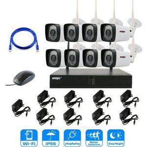 Anspo 2MP 1080P نظام CCTV 8CH NVR كيت HD اللاسلكية في الهواء الطلق IR للرؤية الليلية IP واي فاي كاميرا نظام مراقبة الأمن