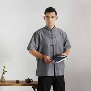 Sommer Männer Baumwollhemd Kurzarm Bluse Feste Tang Top Männliche Tai Chi Uniform Chinesische Stil Kleidung Oversize 3XL 4xl1