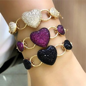 Fashion Heart shape bracelets for women Paved Micro Multicolor Zirconia Gold Color copper Adjustable boho Bangle Party Jewelry