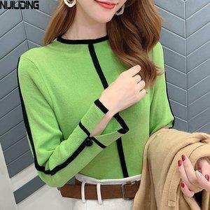 Nijiuding, / invierno 2020, de manga larga, cuello de Corea, camisa básica de punto, cuello alto, suéter delgado, moda otoño