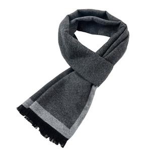 [PAISCYKY] Nouvelle marque Hiver cadeau Grey Striped Écharpes Business Gentleman, Écharpe en cachemire, Hommes Écharpes, Bufanda 201018