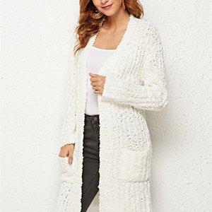 Женщины зимний элегантный теплый с длинным рукавом вязаный карманный верхний белый свитер кардиган