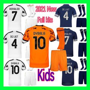 2020 2021 Kit de camisa de futebol PIRLO futebol Morata camisas infantis RONALDO DE ligt 20 21 DYBALA JUVE Crianças define uniforme com meias