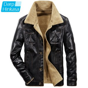 New Men Winter Leather Jacket Fur Collar Bomber Jacket Men Thick Warm Plus Velvet Casual Motor Jacket Men Plus Size 201022