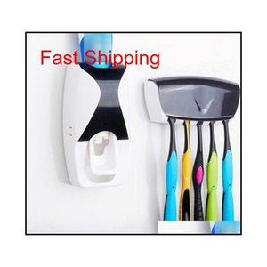 Bathroom Gadgets Automatic Toothpaste Dispenser + 5Pcs Toothbrush Holder Set Wall Mount Rack Bath Oral Bathroom Accessories Sjueu