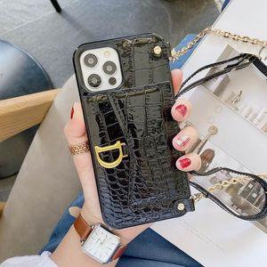 1 ADET PU Deri IPhine 12 Durumda Timsah Desen Kart Çanta Crossbody Telefon Kılıfları iphone 11 Pro Max XS 7 8 Artı XR X SE 2020 Kapak Kılıfı