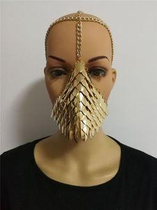 Neue Ankunfts-Frauen-reizvolle Silber-Fisch-Skala-Maske Kopfketten Schmuck einzigartige Entwurfs-Punklegierungs-Kopf-Ketten Wear Mask