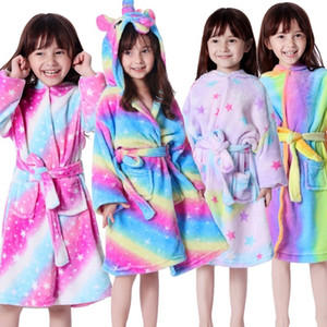 Unicorn Hooded Children Bathrobes Kids Star rainbow Bath Robe Animal For Boys Girls Pyjamas Nightgown Kids Sleepwear LJ200814