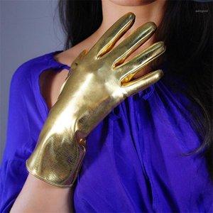 2020 Nouveaux gants en cuir verni 28cm Gardez une émulation chaude Cuir Gants de femme Miroir Bright Bright Gold Femme PU191