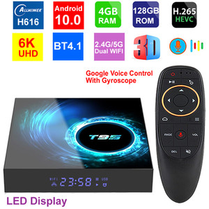 T95 6K Smart TV Caixa Android 10.0 4GB 128GB Allwinner H616 Quad Core 5G Dual Wifi HDR HDR HD.265 BT4.1 6K Media Player Set Top Box