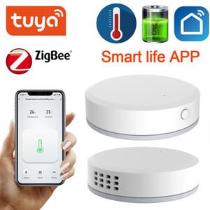 Туя ZigBee Мини температуры Датчик влажности Встроенная батарея Смарт Life APP Smart Home Building Automation ЖК-экран