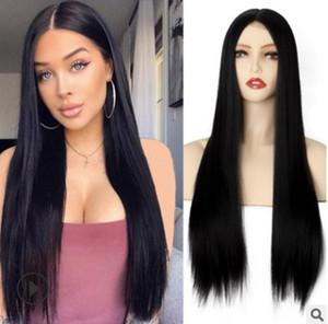 Joven y belleza larga peluca negra larga peluca sintética para las mujeres Frontal natural de encaje de encaje Fibra resistente al calor Peluca de aspecto natural