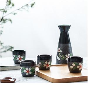 Japanese Sake Set, 5 Pieces Sake Set Hand Painted Design Porcelain Pottery Traditional Ceramic Cups Crafts Wine Glasses sqcqyn