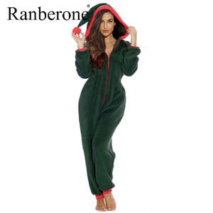 Ranberone Jumpsuit Frauen Winter-mit Kapuze Weihnachten Home Pyjamas One Piece Adult Plus Size Frauen Kleidung Anzug Wives Sexy
