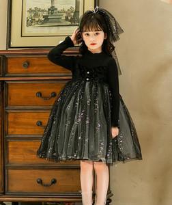 Outono 2020 novo vestido de princesa das meninas, ocidental camisola outono estilo e inverno malha das crianças saia de fios vestido vestido fofo