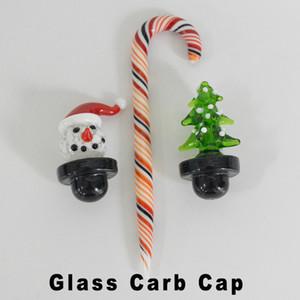 OD 26mm Christmas Trees Glass Carb Cap Snowman Bubble Carbs Caps Cane Thick Dabber Santa Hats for Bowls Banger Dab Rigs Smoking Bongs Kits