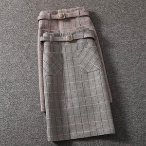 Women's Winter One-step Bag Hip Skirt Female Korean Version Woolen Plaid Skirt Lady Mid-length High-Waist Slit