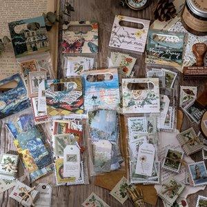 60 Pcs Lot Vintage Stamp Stickers Pack Van Gogh Aesthetic Sticker Scrapbooking Decorative Diary Stick Label Album Journal jllSzQ mxyard