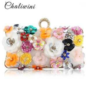 Chaliwini Socialite Women Flower Evening Bags Wedding Party Bridal Beaded Purse Crystal Clutch Handbag1