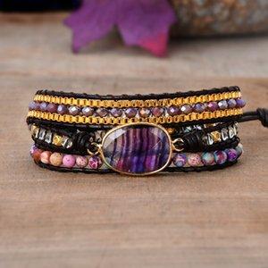 Braccialetti viola in pelle fluorite in pelle guarigione pietra perline in rilievo 3 fili braccialetto arcobaleno fluorite in rilievo bracciale in vera pelle Y1218