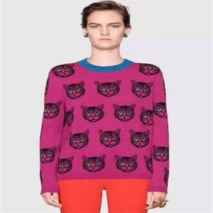 القطط باتن KNITWEARS سترة الملابس النسائية فاخر مصمم الرقبة الطاقم صالح سليم بلوفرات شارع العليا مصمم ملابس النساء