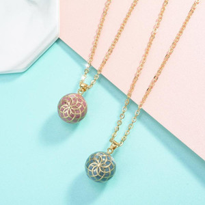 20mm Blue Pink Flower Ball Harmony Ball Musical Pendant Angel Caller Bola Necklace For Baby Pregnancy Jewelry Gift Idea