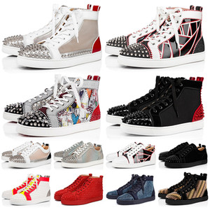 con scatola studded spikes red bottoms shoes Alta qualità lusso scarpe firmate fondi rossi scarpe da uomo taglia 13 donne scarpe casual piattaforma da ginnastica euro 47
