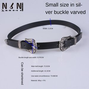 2SZEY headCarved belt Silverwomen's pindenim button headCarved double Pin Silverwomen's pindenim Pin Double button belt LAlSn