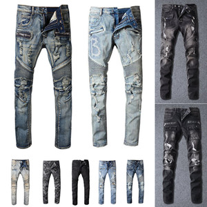 2020 New Mens Distressed strappato Biker Mens Jeans slim fit Motociclista Denim per gli uomini S Black Fashion 19ss pour hommes