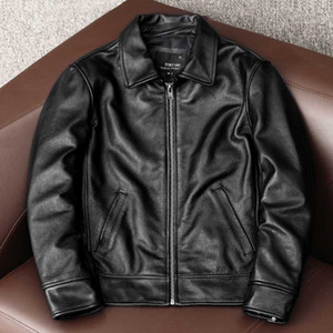 YR!Free shipping.2020 new black cowhide jacket.Men100% genuine leather coat.Dad's leather Jacket.plus size clothes