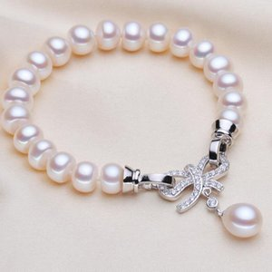 YKNRBPH Trendy Pearl Bracelet Natural Freshwater Pearl White Color Gift For Womens Q1118