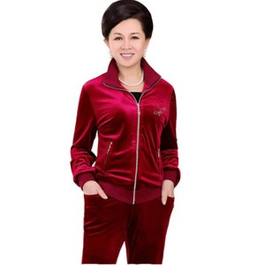 Fashion Middle Aged Lady Sets Spring Velvet Tracksuits Two Piece Mother Casual Wear Plus Size 5xl Female Suits Pants Set 569