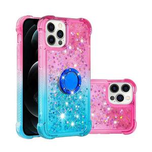 Жидкость Блеск Блеск Bling Защита противоударный чехол для Iphone 12 Pro 2020 Cute Водопад Floating Phone Ring Stand Gradient Phone Case