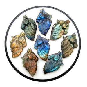 Natural Labradorite Tianma Head Hand Carved DIY Pendant Jewelry Accessories Crystal Agate Healing Energy Semi-precious Stone Jewelry Beads W