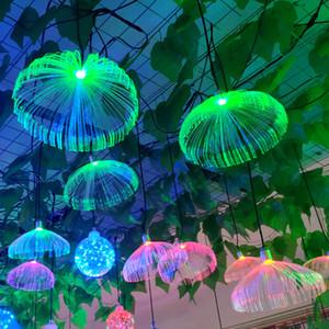 Outdoor LED Jellyfish Fiber Optic Colorful Light Hanging Lights Living Room Restaurant Home Decor Wedding Party Waterproof IP66