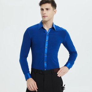 Camisas de baile latino para hombre Tops Práctica Ropa de baile Verano Profesional Profesional Baile Camisa de baile de manga larga Dwy18661