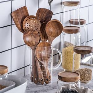1-7pcs / set in teak in legno naturale tableware cucchiaino cucchiaio cucchiaio speciale nano zuppa skimmer cucchiaio cucchiaio in legno kit di utensili da cucina in legno
