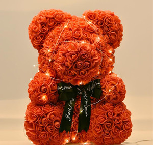 For Gift Gifts Led Lovely Rose Box With New Bear Soap 40cm Gift Of Bear Foam Day Artificial Flower Teddy Valentine's Year Roses sqcRb